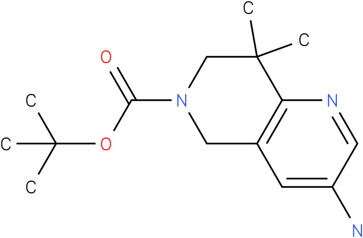 tert-butyl 8,8-dimethyl-3-amino-7,8-dihydro-1,6-naphthyridine-6(5H)-carboxylate