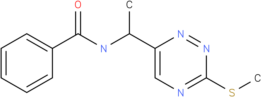 N-(1-(3-(methylthio) -1,2,4-triazin-6-yl) ethyl)benzamide
