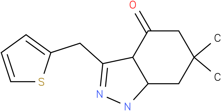 6,6-Dimethyl-3-thiophen-2-ylmethyl-1,3a,5,6,7,7a-hexahydro-indazol-4-one