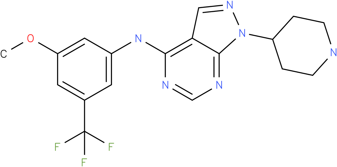 (3-Methoxy-5-trifluoromethyl-phenyl)-(1-piperidin-4-yl-1H-pyrazolo[3,4-d]pyrimidin-4-yl)-amine