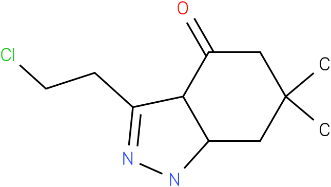 3-(2-Chloro-ethyl)-6,6-dimethyl-1,3a,5,6,7,7a-hexahydro-indazol-4-one
